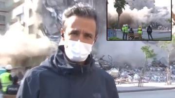 İzmir'de NTV muhabiri anons çekerken bina yıkıldı! İşte o anlar