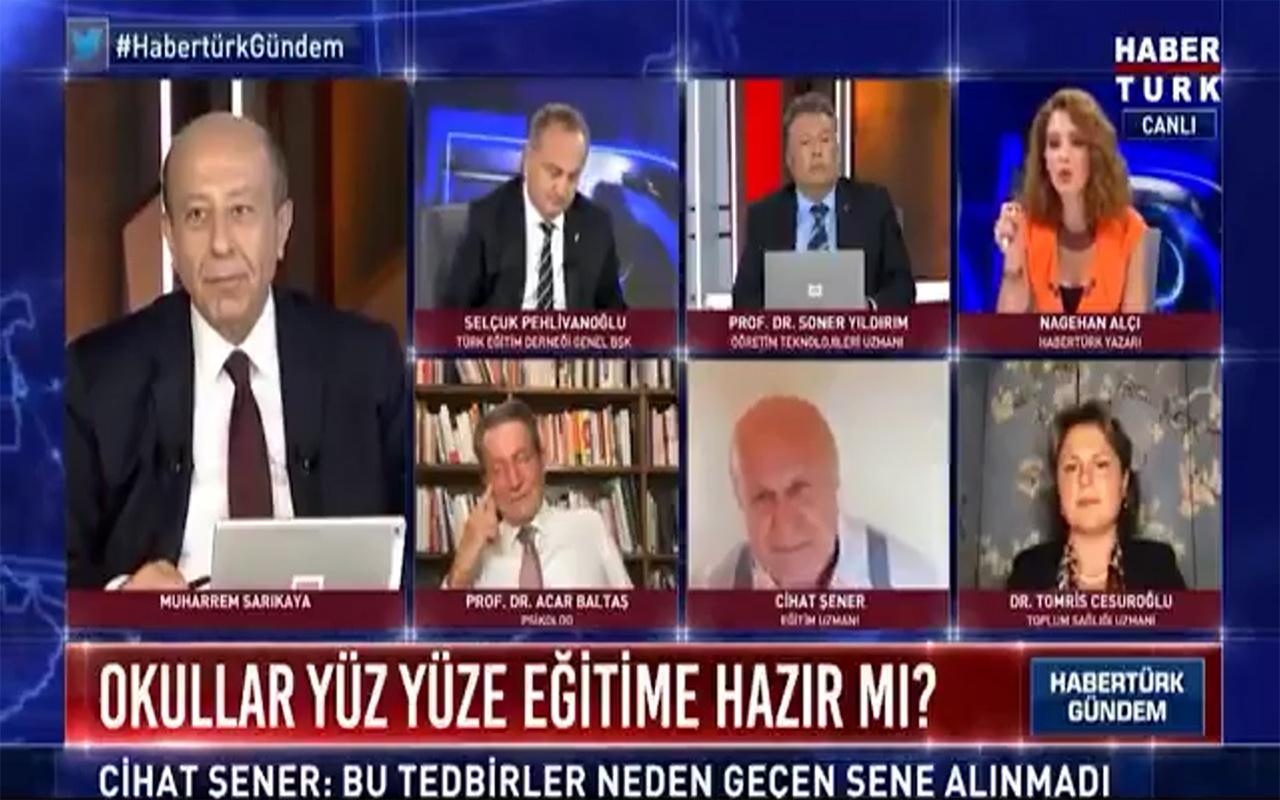 Habertürk yayınında Cihat Şener Nagehan Alçı'ya dayanamayıp tepki gösterdi: Beni yayından alınız